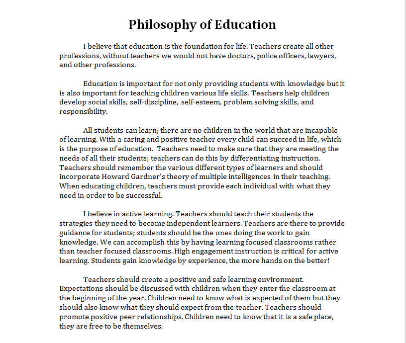 my personal philosophy of teaching and learning education essay My teaching philosophy i believe education is an essential part in personal development it is mandatory for students to grow as individuals by learning about.